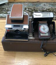 Vintage 1970's POLAROID SX-70 ALPHA 1 LAND CAMERA With Flash, Light Meter, Case