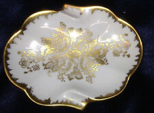 PORCELAINE OF FRANCE LIMOGES OVAL ASHTRAY PIN DISH SHELL SHAPED GOLD FILIGREE