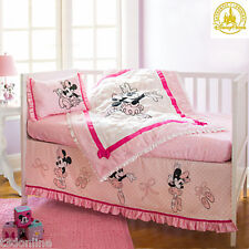 AUTHENTIC Disney MINNIE MOUSE 4 Pc Baby Girl Cot Bedding Set Quilt Fitted Sheets