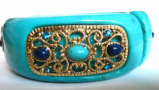 Turquoise Acrylic and Crystal Fold Over Cuff Bracelet