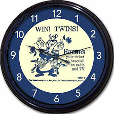 Minnesota Twins Hamms Baseball Beer Coaster Wall Clock Beer MLB Man Cave New 10""