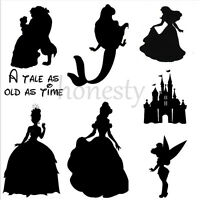 2PCS Belle Princess Castle Mermaid Sticker Vinyl Decal Car Window Wall Decor