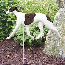Greyhound Outdoor Garden Sign Hand Painted Figure Brindle/White