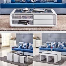 High Gloss Modern Design Coffee Table White Black Glass Side Table Living Room