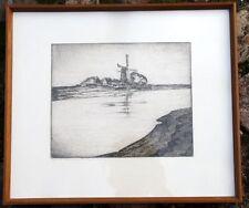 Grafik  Blatt Bild Ingwer Paulsen Mühle am Wasser Radierung beschriftet Rahmen