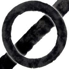 "Fleece Steering Wheel Cover Synth Sheepskin Black 14.5-15.5"" Fur Feel Warm Cold"