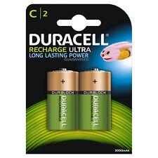 2 batterie ricaricabili 1/2 Torcia  Mezzatorcia  DURACELL  C HR14   3000 mAh