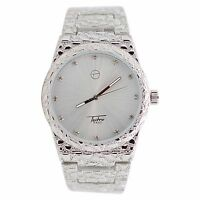 Mens Techno Pave Silver Finish Iced Out Dial Full Nugget Style Metal Band Watch