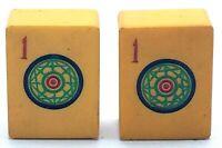 Lot of 2 Vtg **MATCHING** Cream Yellow Bakelite Mahjong Mah Jong Tiles