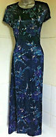 LAURA ASHLEY vintage 80's/90's long wool mix navy floral dress cap sleeves 14VGC