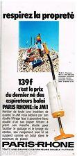 Publicité Advertising 1972 Aspirateur Paris Rhone