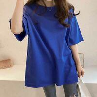 Fashion Shirt Short Sleeve Solid Ladies Summer Loose Women Blouse Top T-shirt