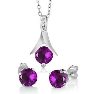 """Round Amethyst Solitaire Earrings Pendant W/18"""" Jewelry Set 14k White Gold Over"""