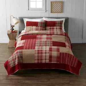 Cuddl Duds FULL/QUEEN Heavyweight Flannel Quilt 3 pc Red Patchwork