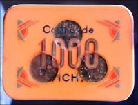 VICHY CASINO 1960 Poker Plaque Chip 1000F Vintage Old Gambling Game Token France