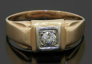Vintage heavy 14K gold .40CT diamond solitaire men's ring size 11.75