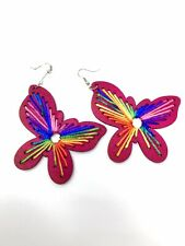 E283 Silver Plated Wooden Red Butterfly Multi Colour Thread Dangle Drop Earring