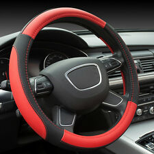"""Universal Leather Steering Wheel Cover Black Red 15"""" Fit Car Truck Cool Size M"""