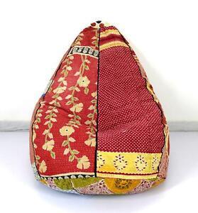 Handmade Footstool Cotton Vintage Kantha Hippie Bohemian Kids Bean Bag Furniture