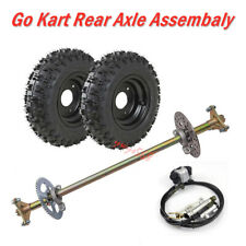 "Complete Go Kart Rear Axle Kit + Brake assembly + Rear 6"" Wheels Atv Quad Dhz"