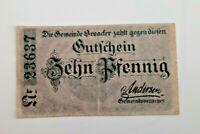 BROACKER (DÄNEMARK BROAGER) NOTGELD 10 PFENNIG 1918 NOTGELDSCHEIN (11607)