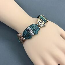 Multicolor Happy Camper Unique Statement Stretchable boho Bangle Bracelet