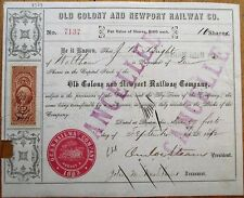 Old Colony Rail Road 1872 Stock Certificate-Boston, MA Railroad RR Massachusetts