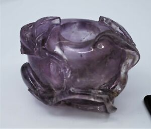 Fine Old Chinese 19th Carved Amethyst Brush Pot Carving Sculpture Art
