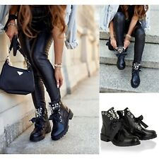 Womens Lace Up Ankle Boots Ladies Pearl Studded Chelsea Biker Black Shoes Size