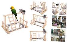 Qbleev Parrots Playstand Bird Playground Wood Perch Gym Stand Playpen Ladder wit