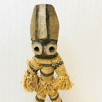 Vintage Hand Carved African Figure Statue Woven Straw Garments Mid Century
