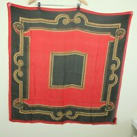 "Vintage Ellen Tracy Large Square Silk Scarf 37"" Sheer Red Black Baroque Scroll"