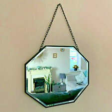 Industrial Metal Chain Hanging Octagonal Bathroom Glass Wall Mounted Mirror 36cm