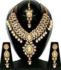 White Kundan Meena Pearl Gold Tone Bollywood Choker Necklace Jewelry Set 4 Pcs