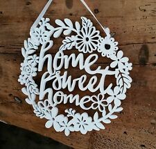 Legno Bianco Home Sweet Home Muro Firmare Appeso Gisela Graham NUOVO Vintage Fiore