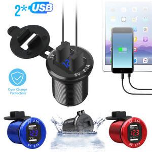 12V Dual USB Port Car Cigarette Lighter Charger Socket LED Digital Voltmeter