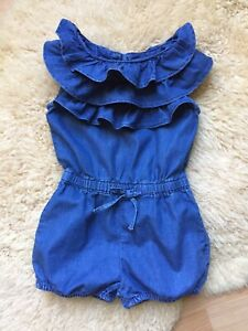 Baby Gap Girls Blue Chambray Denim OnePiece Romper Shorts Smocked 2 Years