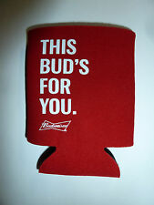 Budweiser beer bottle cooler red This Bud's For You slogan & logo fabric foam