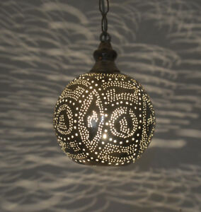 Handcrafted Moroccan Silver Plated Metal Ceiling light Fixture Hanging Lamp