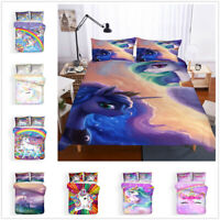 3D Dream Rainbow Unicorn Kids Duvet Cover Bedding Set Comforter Cover Pillowcase