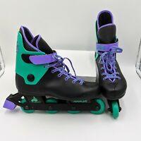 Vintage Seneca Leather Inline Skates Roller Blades Kids Youth Purple And Black