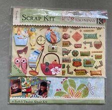 NEW K & Company Travel Scrapbooking Kit w/Paper+ Stick-Ons+DieCuts & More! NIP!