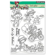 New Penny Black LET'S PLAY Clear Stamp Set Friend Birthday Dog Girl Bike Balloon