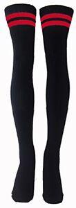 Red Striped Thigh High Black Tube Socks Sexy 35-053