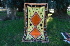 Vintage.Authentic Woolen Azilal rug Berber Handwoven Rug Teppich 7'3''x 3'8'' Ft