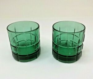 "Anchor Hocking Vintage Tartan Emerald Green 3 1/2"" Old Fashioned Barware (2)"