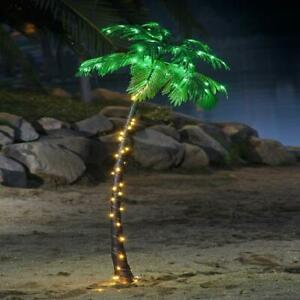 7ft. Artificial Palm Tree with White Lights Summer Backyard Garden Decoration