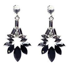 Gorgeous Silver Plated Black White Cubic Zirconia  Crystal Statement Earrings