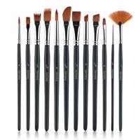 12 Stück Pinsel Set Aquarell Acryl Premium Durable Prime Paintbrush für Künstler