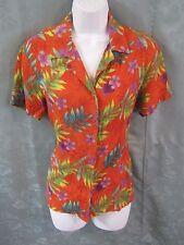 Notations Shirt Size Small Orange Tropical Floral Print Aloha Top